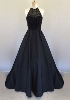 A-Line Halter Floor Length Black Satin Prom/Evening Dress with Beading