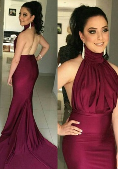 Mermaid High Neck Sweep Train Backless Burgundy Ruched  Prom Dress