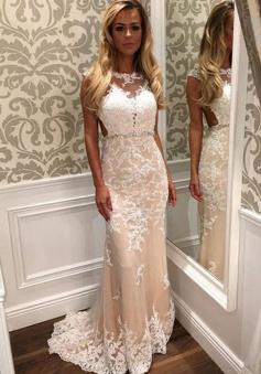 Mermaid Bateau Cap Sleeves Open Back Light Champagne Prom Dress