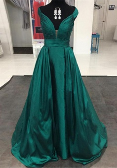 A-Line V-Neck Cap Sleeves Dark Green Prom/Evening Dress with Pleated