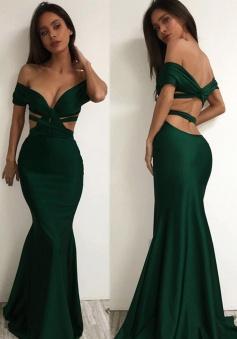 Mermaid Off-the-Shoulder Floor Length Backless Hunter Prom Dress