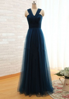 A-Line V-Neck Floor Length Pleated Navy Blue Prom Dress with Bowknot