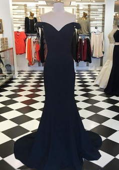 Mermaid Off-the-Shoulder Sleeveless Sweep Train Navy Blue Prom Dress