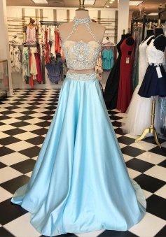 Two Piece High Neck Floor-Length Light Blue Prom Dress with Lace Appliques