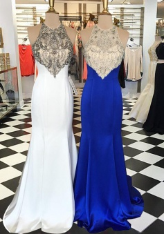 Mermaid Jewel Open Back Sweep Train White/ Royal Blue  Prom Dress with Beading