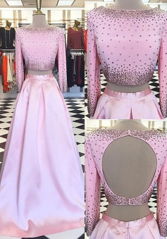 Two Piece Bateau 3/4 Sleeves Open Back Pink Long Prom Dress with Beading