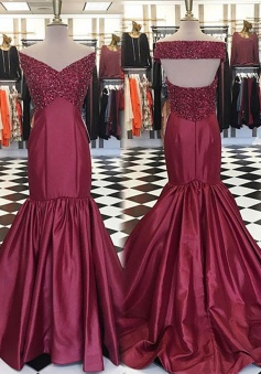 Mermaid Off-the-Shoulder Open Back Long Burgundy Prom Dress with Beading