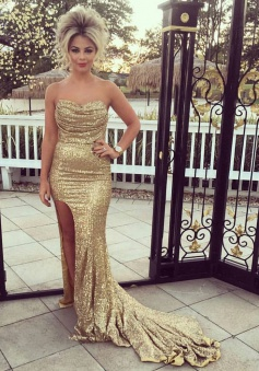 Mermaid Sweetheart Sweep Train Gold Sequins Prom Dress with Split