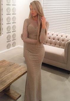 Mermaid Crew Floor-Length Long Sleeves Backless Silver Sequined Prom Dress