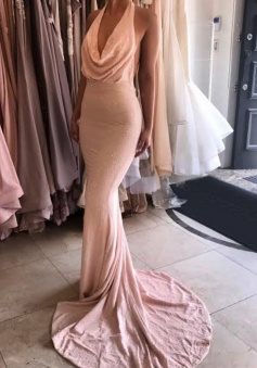 Mermaid Halter Sweep Train Backless Pink Lace Prom Dress with Beading