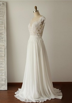 A-line Scoop Cap Sleeves Long Backless White Prom Dress with Lace