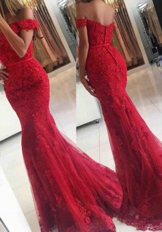 Mermaid Off-the-Shoulder Sweep Train Red Prom Dress with Sash Lace