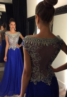 A-Line Bateau Cap Sleeves Long Royal Blue Prom Dress with Beading