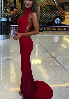 Mermaid High Neck Sleeveless Sweep Train Red Prom/Eveing Dress with Hollow