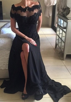 A-Line Off-the-Shoulder Short Sleeves Sweep Train Black Prom Dress