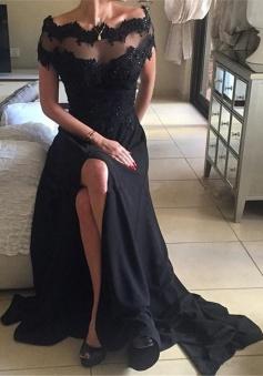 A-Line Off-the-Shoulder Short Sleeves Sweep Train Black Prom Dress