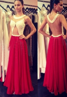 A-Line Round Neck Illusion Back Long Red Prom Dress with Beading