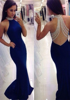 Mermaid Round Neck Sweep Train Royal Blue Prom Dress with Beading