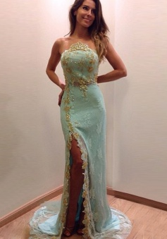 Mermaid Crew Neck Long Light Blue  Lace Prom Dress with Beading