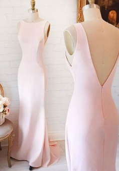 Mermaid Bateau Sleeveless Sweep Train Backless Pink Prom Dress