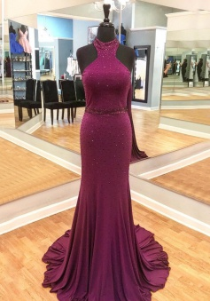 Mermaid High Neck Sweep Train Grape Prom Dress with Beading