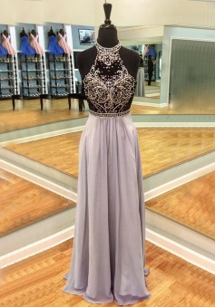 A-Line Round Neck Long Light Lavender Open Back Prom Dress with Beading