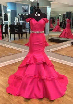 Mermaid Off-the-Shoulder Tiered Long  Rose Pink Prom Dress with Beading