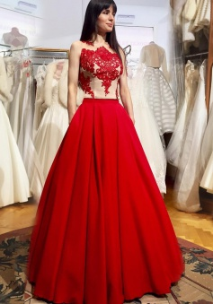A-Line Jewel Sleeveless Illusion Back Red Prom Dress with Appliques Pockets