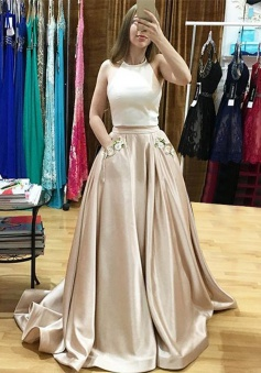 Two Piece Halter Sweep Train Light Champagne Prom Dress with Appliques Pockets