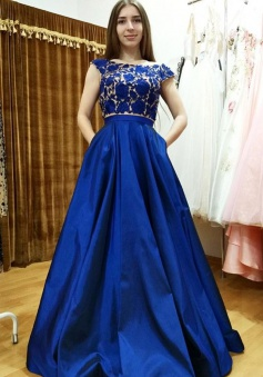 Two Piece Bateau Cap Sleeves Royal Blue Prom Dress with Appliques Pockets