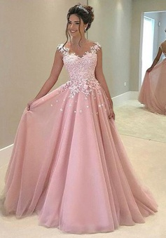 A-Line V-Neck Sleeveless Sweep Train Pink Prom/Evening Dress with Appliques