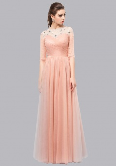 A-Line Bateau Half Sleeves Lace-up Long Peach Prom Dress with Beading Pleats