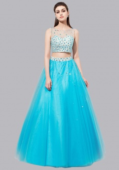 Two Piece Bateau Floor-Length Open Back Blue Prom Dress with Beading