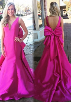 Mermaid V-Neck Court Train Backless Fuchsia Prom Dress with Bowknot