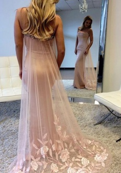 Mermaid Spaghetti Straps Watteau Train Pink Prom Dress with Beading Appliques