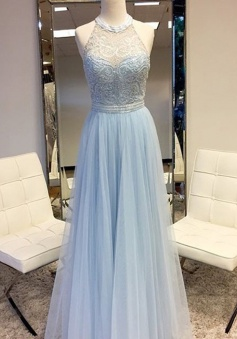 A-Line Round Neck Sleeveless Floor Length Blue Prom Dress with Lace Beading