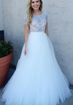 A-Line Short Sleeves Bateau Floor-Length White Prom Dress with Beading