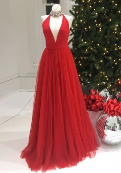 A-Line Halter Sleeveless Floor-Length Red Prom Dress with Beading