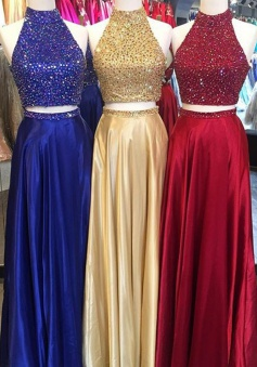 Two Piece Halter Sleeveless Floor-Length Prom Dress with Beading