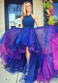 A-Line Halter Hi-Lo Royal Blue Organza Prom/Homecoming Dress with Beading Ruffles