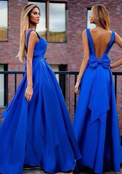 A-Line V-Neck Sweep Train Backless Royal Blue Prom Dress with Bowknot Pleats