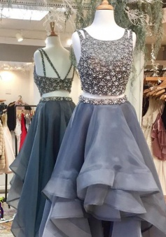 Two Piece Scoop Sleeveless High Low Backless Gray Prom Dress with Beading