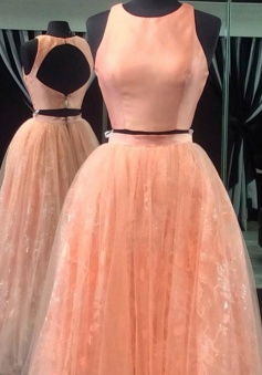 Two Piece Jewel Sleeveless Open Back  Long Peach Prom Dress with Lace