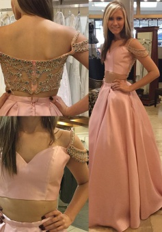 Two Piece Off-the-Shoulder Illusion Back Pink Long Prom Dress with Beading