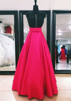 A-Line Bateau Floor-Length Fuchsia Prom Dress with Beading Bowknot