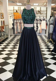 Two Piece Jewel Floor-Length Navy Blue Prom Dress with Beading