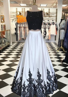 A-Line Bateau Sleeveless Open Back Long Ivory Prom Dress with Beading Lace