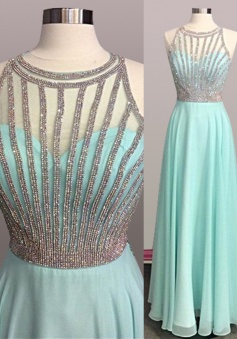 A-Line Jewel Sleeveless Floor-Length Mint Green Prom Dress with Beading