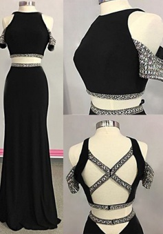 Sheath Jewel Sweep Train Open Back Black Prom Dress with Beading