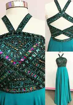 A-Line V-Neck Floor-Length Open Back Turquoise Prom Dress with Beading